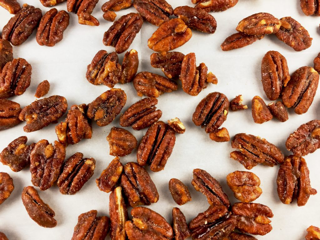 Sweet 'n' Spicy Pecans on baking sheet