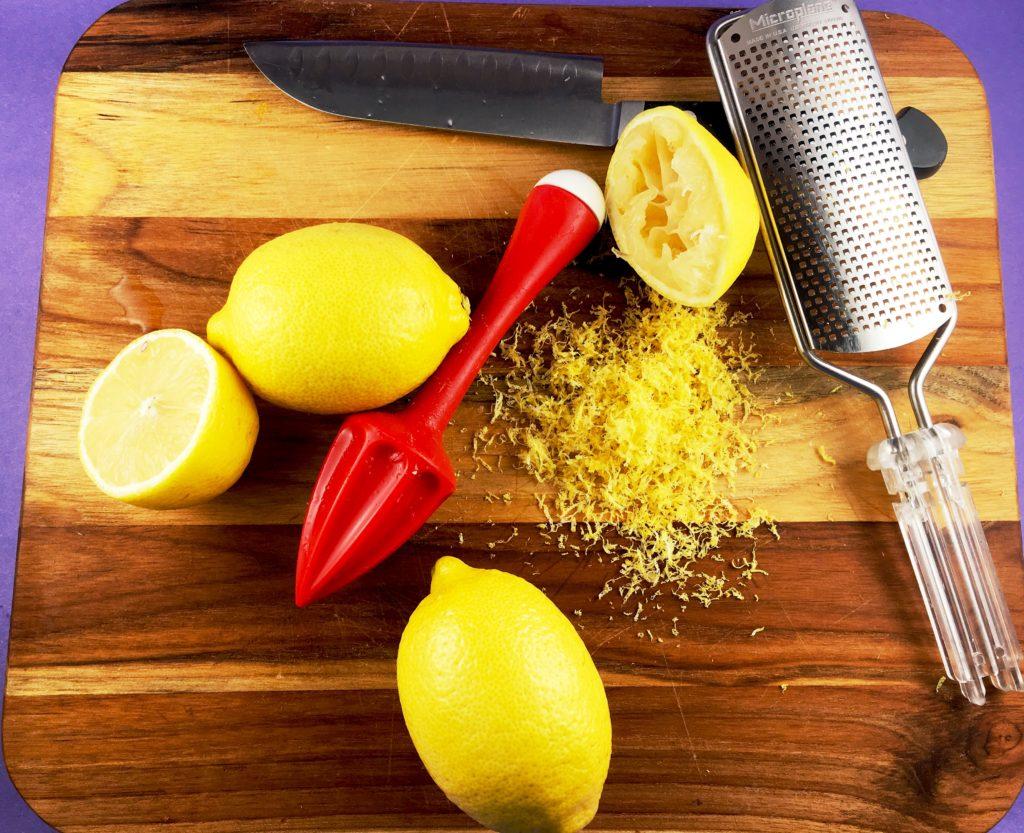 Lemon Zest on cutting board