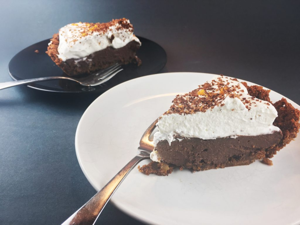 Chocolate with Orange Esssence Pie in Gingersnap Crust