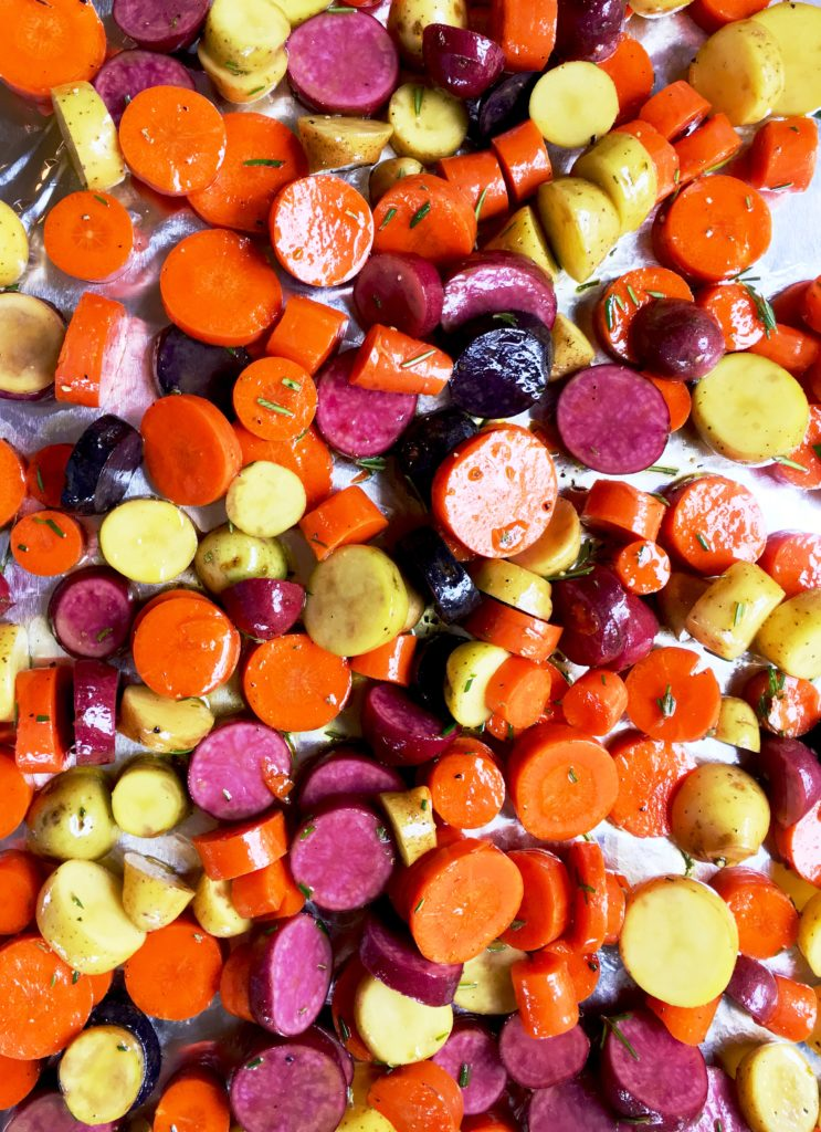 Roasted Fingerling Potato and Carrot Coins