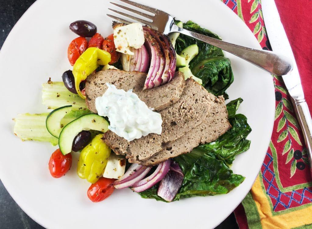 Greek Salad Homemade Gyros meat