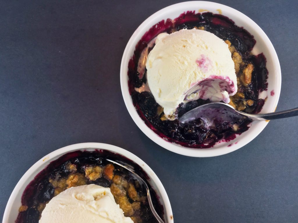 Blueberry Crumble Cornmeal Pistachio Topping