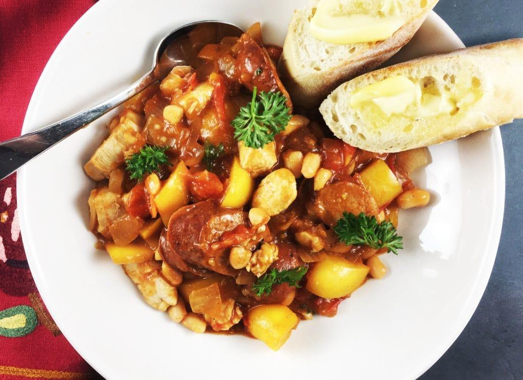 Spanish White Bean Chicken and Sausage Skillet