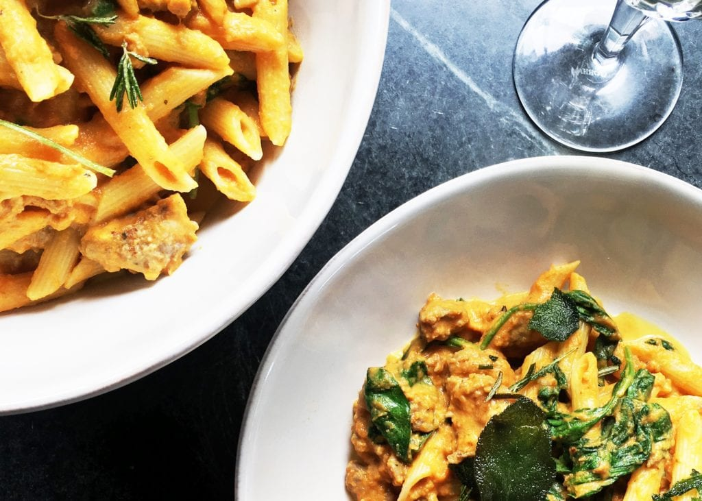 Pumpkin Penne with Sausage and Spinach