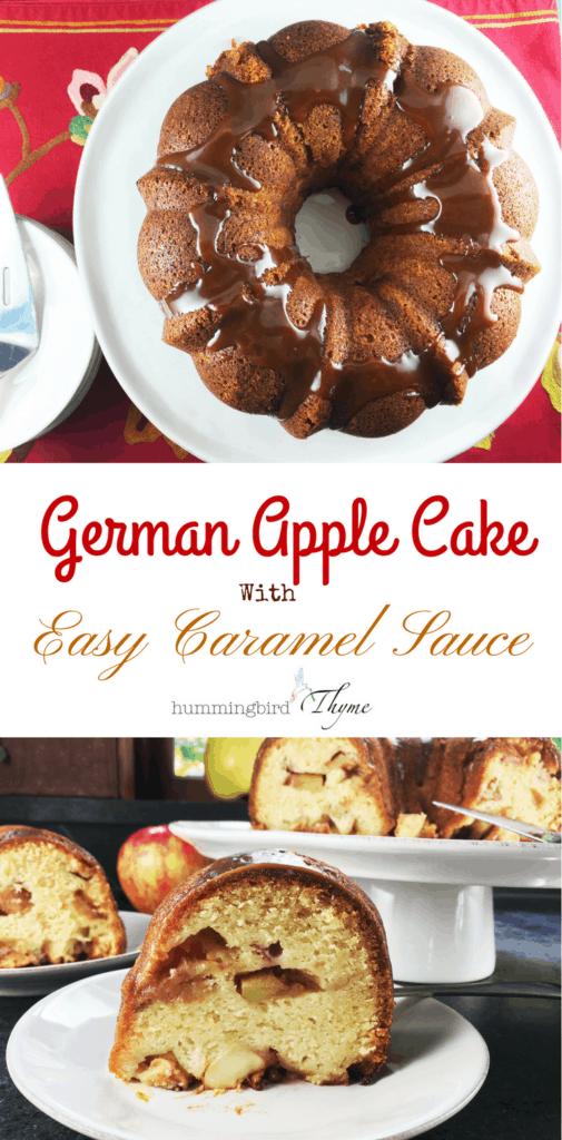 German Apple Cake with Caramel Sauce