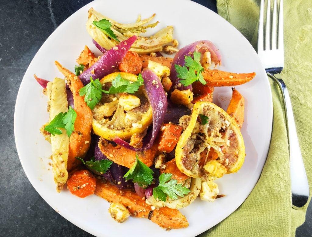 Roasted Vegetables Chicken Feta