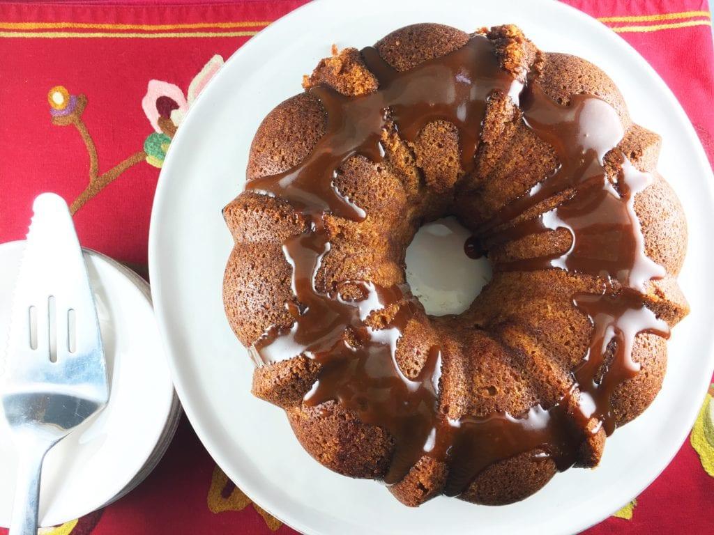German Apple Cake with Caramel Glaze
