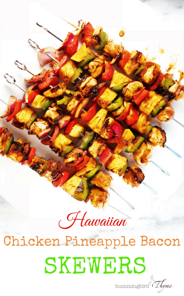 Hawaiian Chicken Pineapple Bacon Skewers