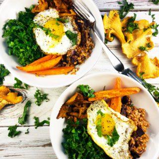 Farro Mushroom Kale Bowl