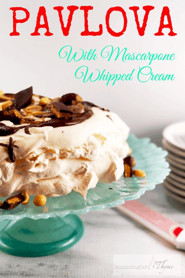 Pavlova with Mascarpone Whipped Cream and Peanut Butter Chocolate Sauce