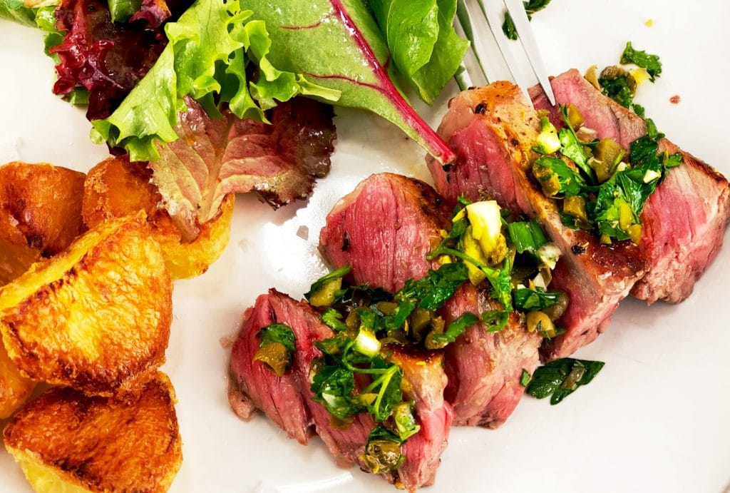 Steak Persillade Sauce Roasted Potatoes