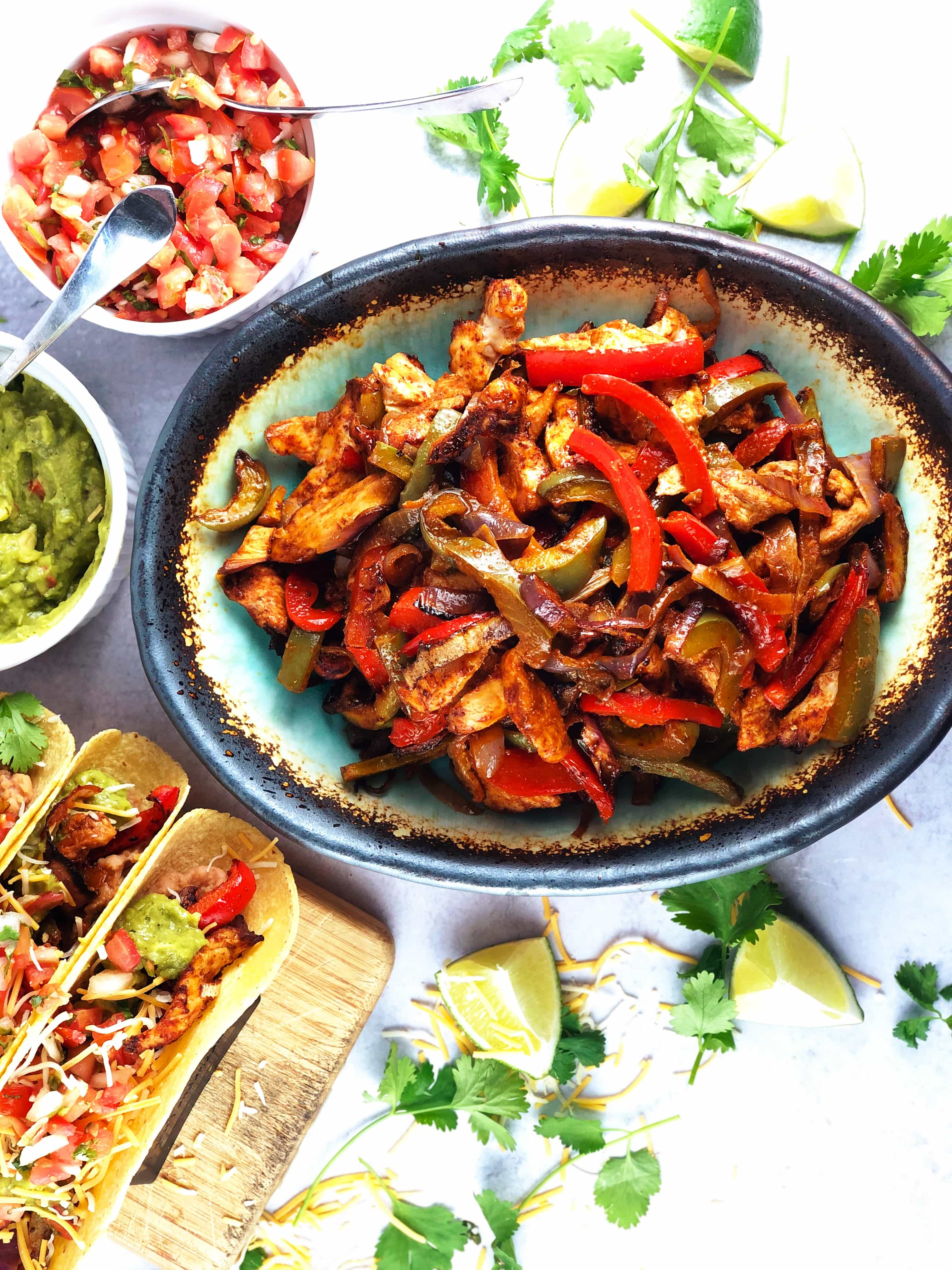 Sheet Pan Fajitas with lime and cilantro