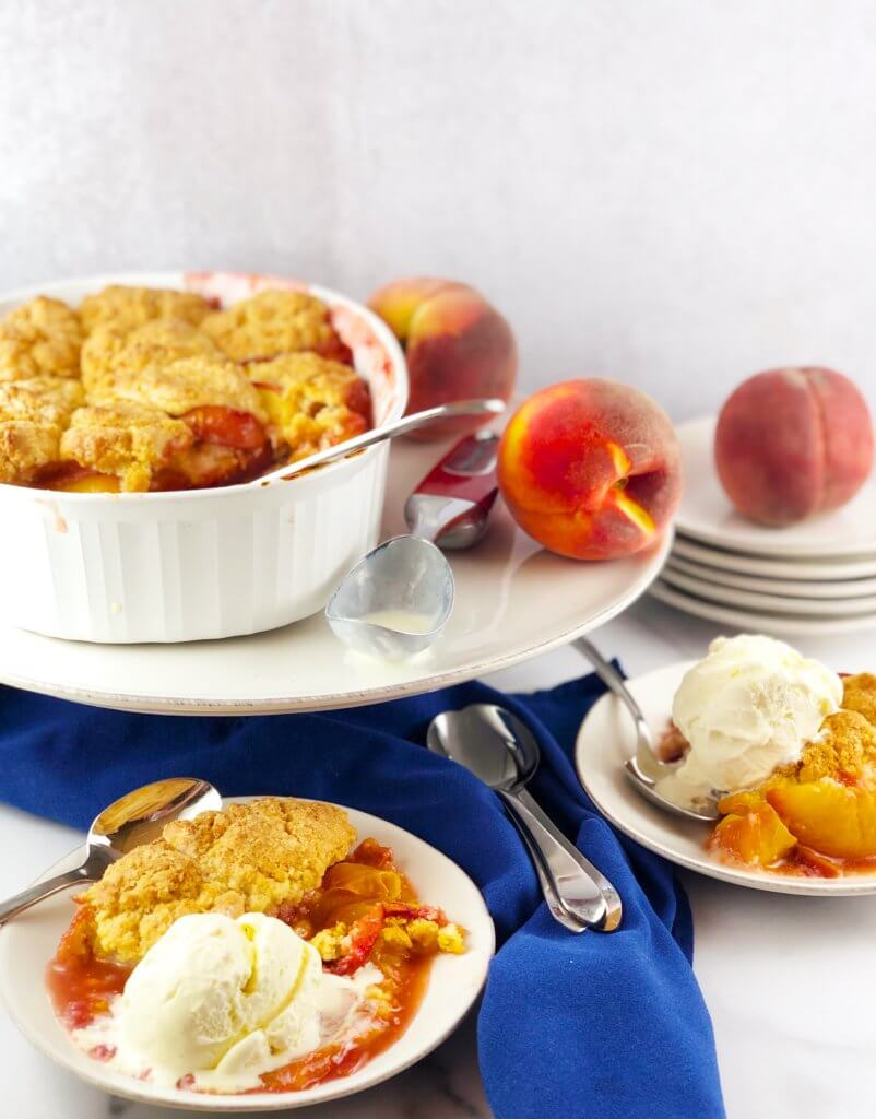 Peach Cobbler with Ice Cream