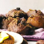 Chocolate Rolls with dried sour Cherries