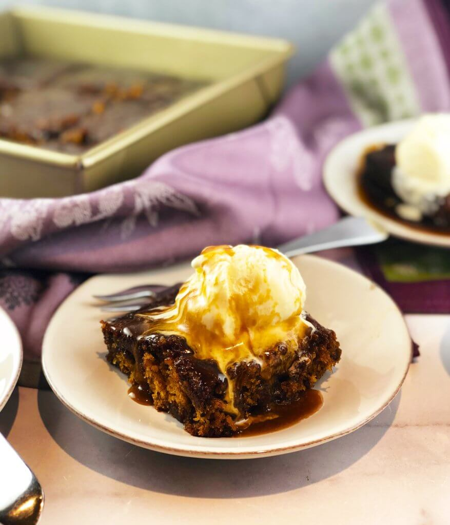 Sticky Toffee Pudding with Ice Cream and Toffee Sauce