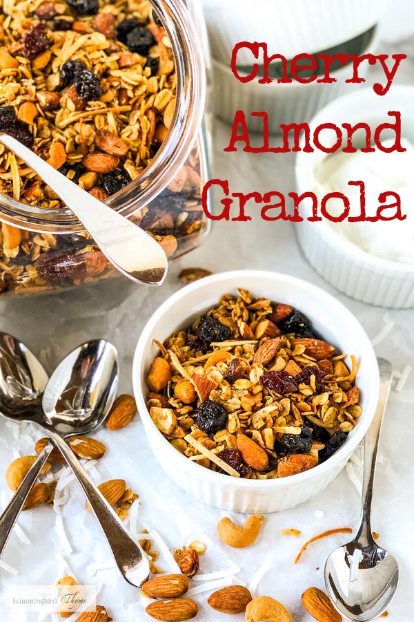 Pinterest image Cherry Almond Granola