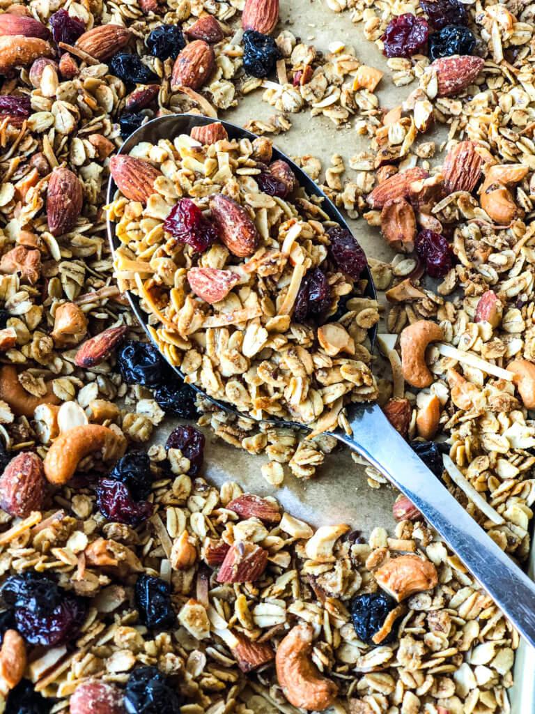 Pan of Cherry Nut Granola