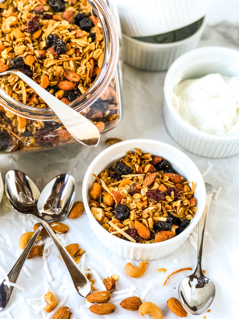 Cherry Almond Granola with yogurt Featured Photo