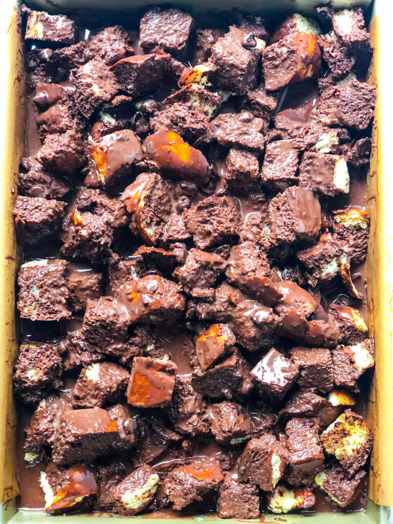 Chocolate Bread Pudding Process