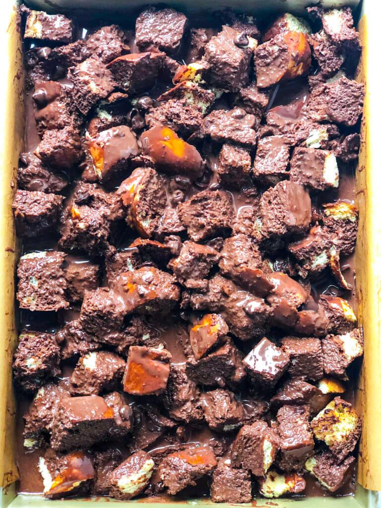 Chocolate Bread Pudding Process