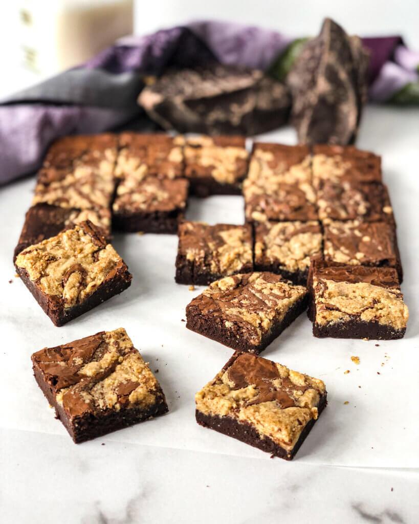 fudgey tahini brownies