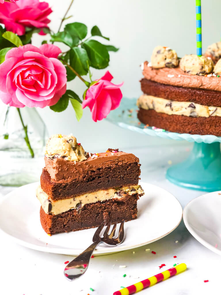 Chocolate Layer cake with cookie dough filling