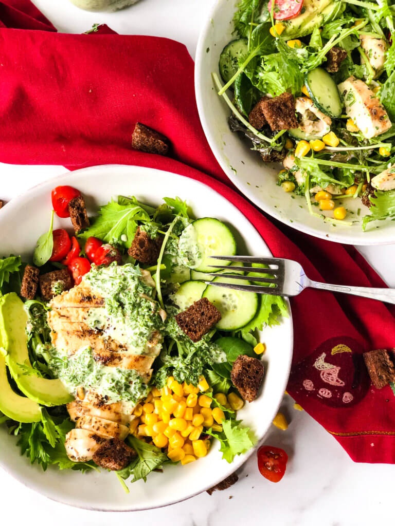 Green Goddess Chicken Salad recipe layered and mixed