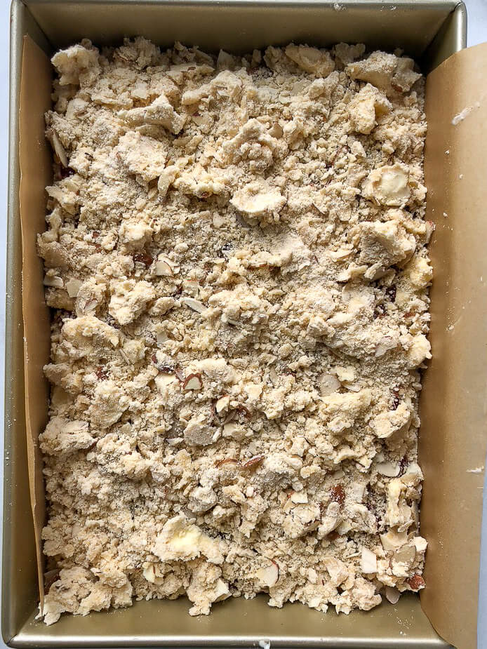 Process shot - crumb layer on