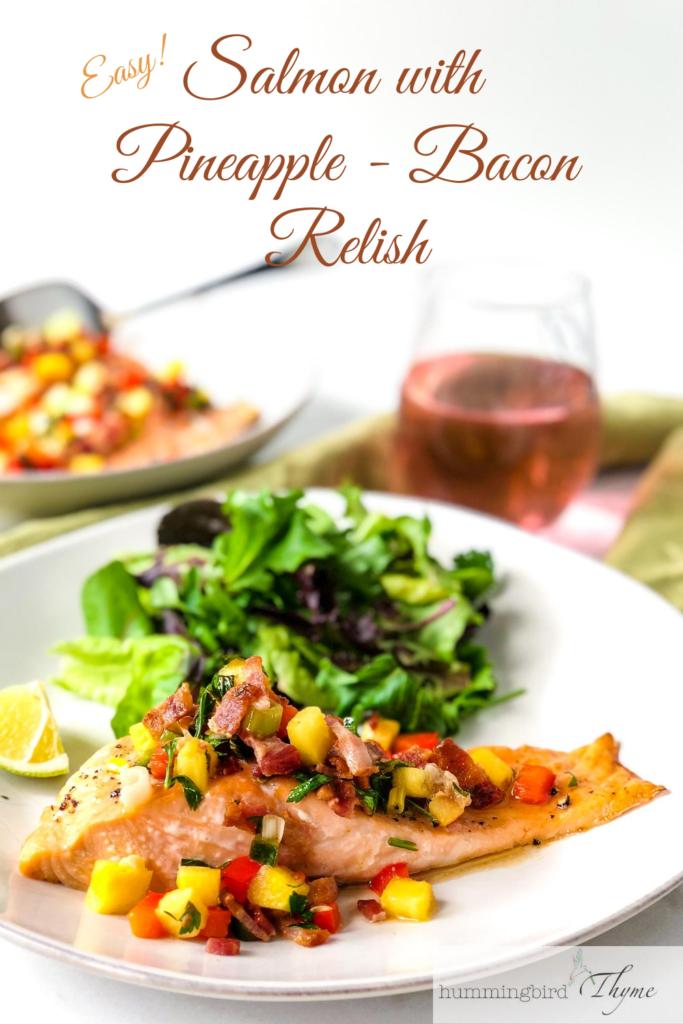 Pinterest Image Salmon with Pineapple Bacon Relish