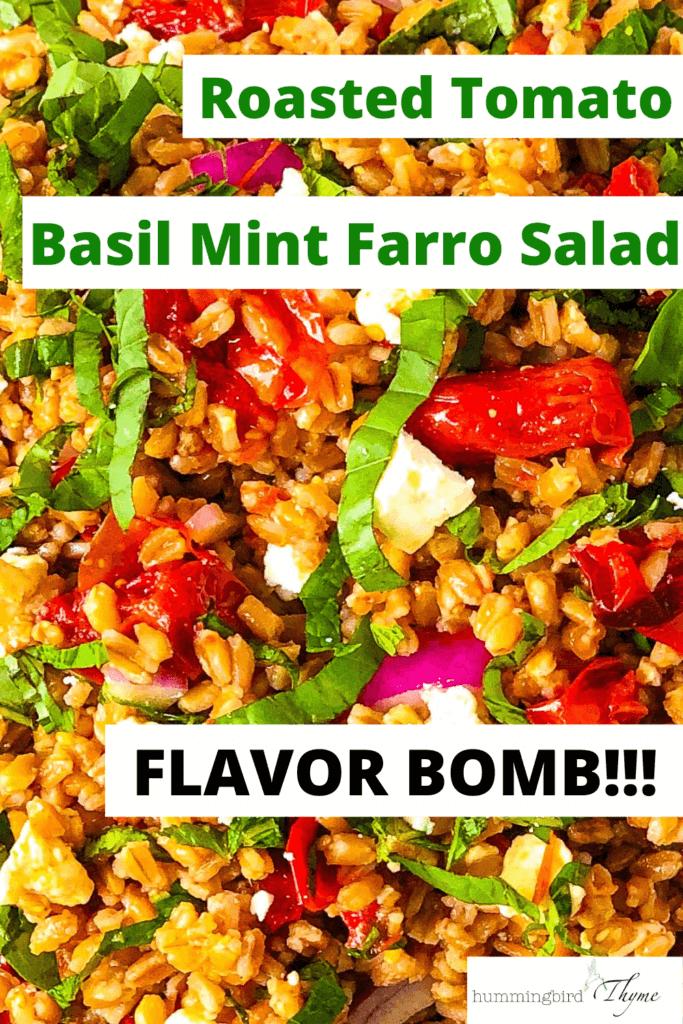 Pinterest Image of Roasted Tomato Farro Salad