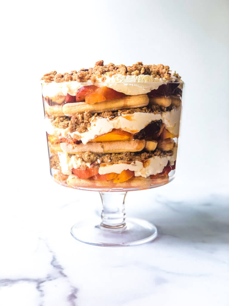 Process showing layering of Peach Crisp trifle