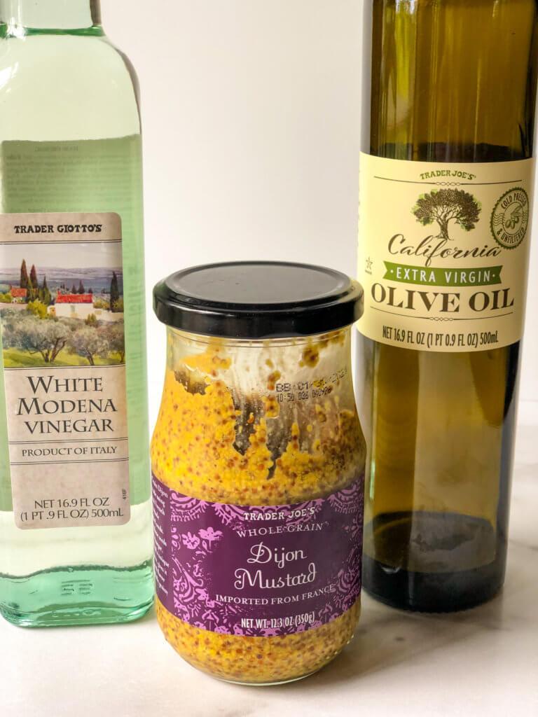 White balsamic vinegar, dijon mustard, olive oil Process shot