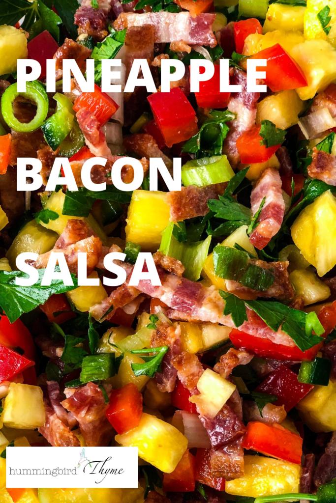 Pinterest Image Pineapple bacon Salsa and salmon