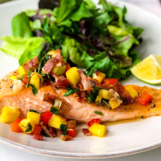 Salmon with Pineapple Bacon Salsa