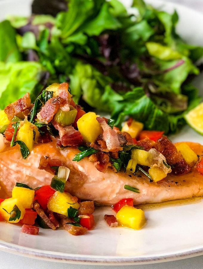 Salmon with Pineapple Bacon Salsa