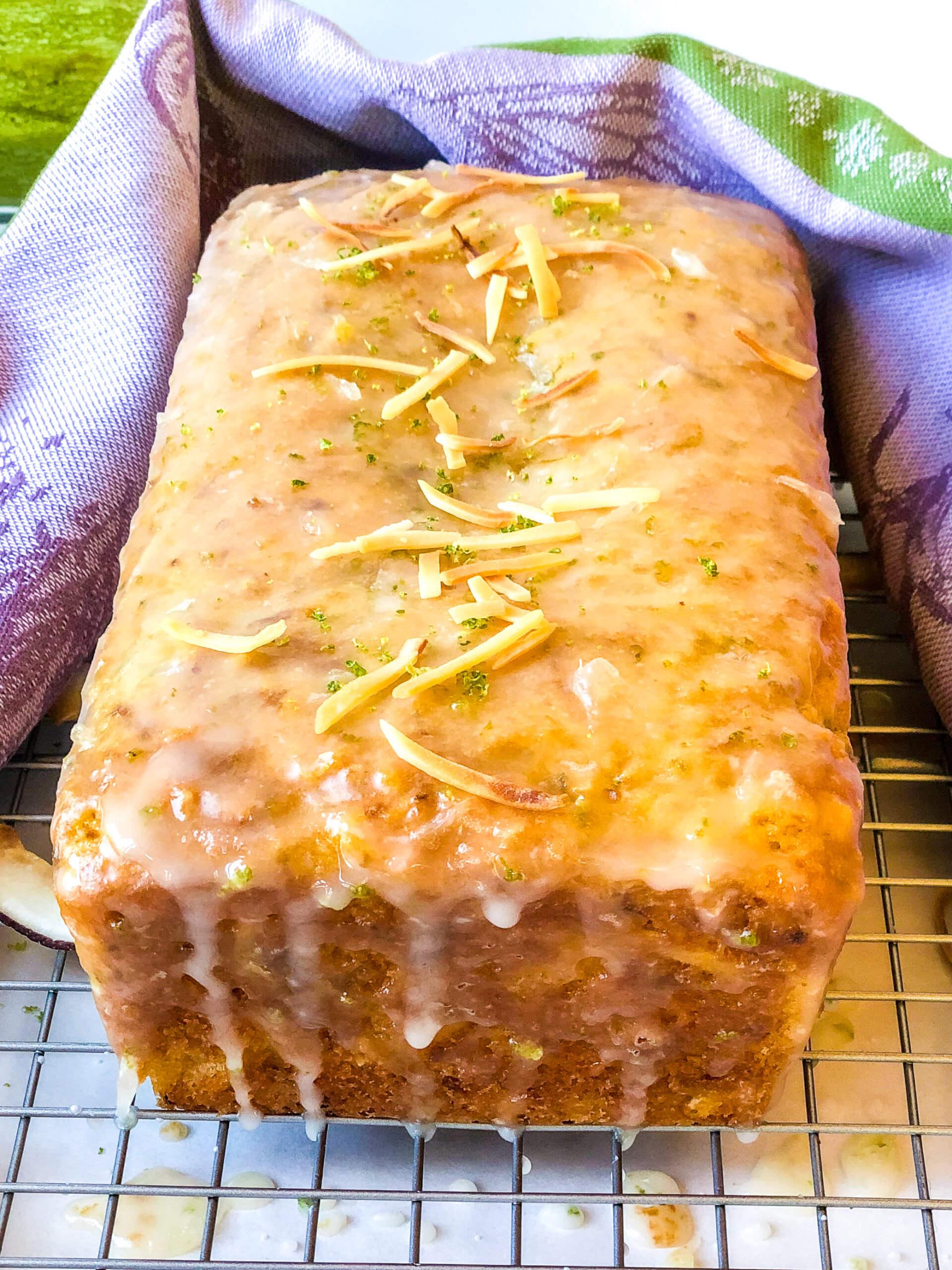 Shows shiny glaze for zucchini bread recipe