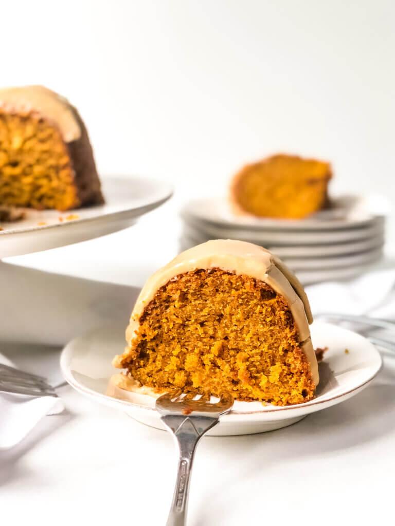 Shows texture of pumpkin bundt cake