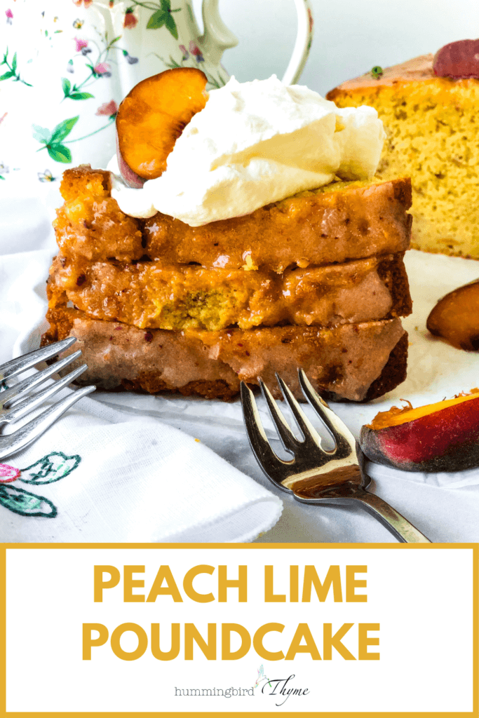 Pinterest Image for Peach lime poundcake