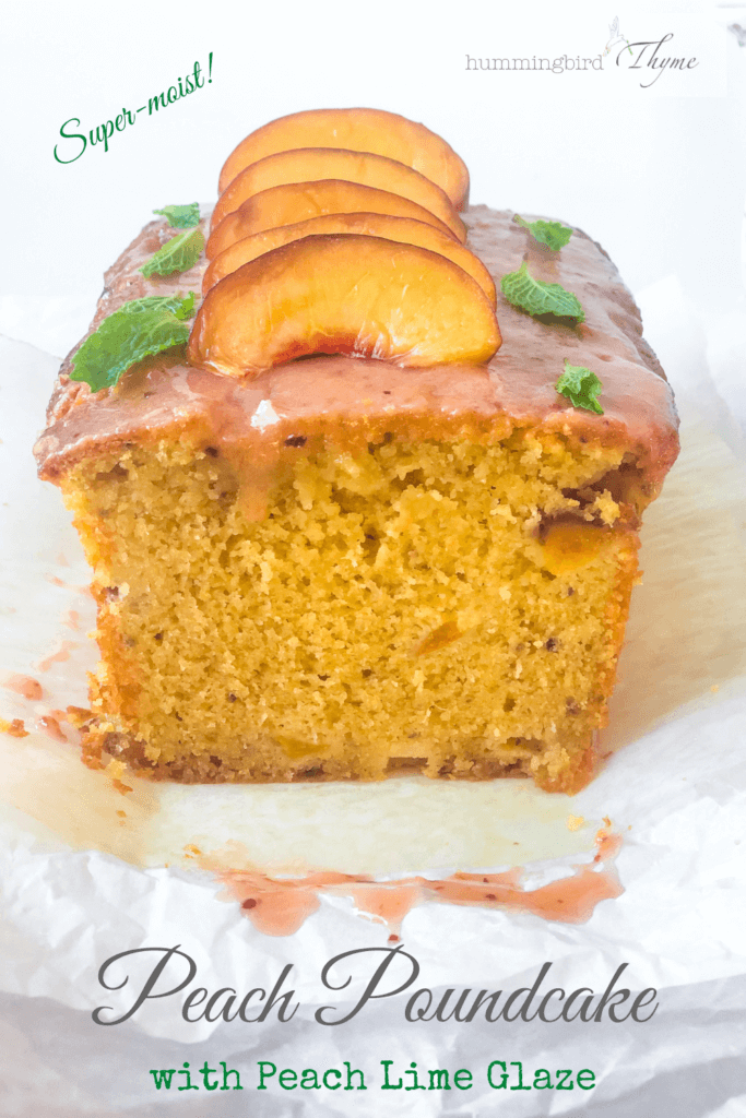 Pinterest Image of Peach Lime Poundcake