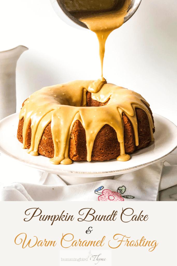 Pumpkin Bundt Cake with salty caramel frosting Pinterest image