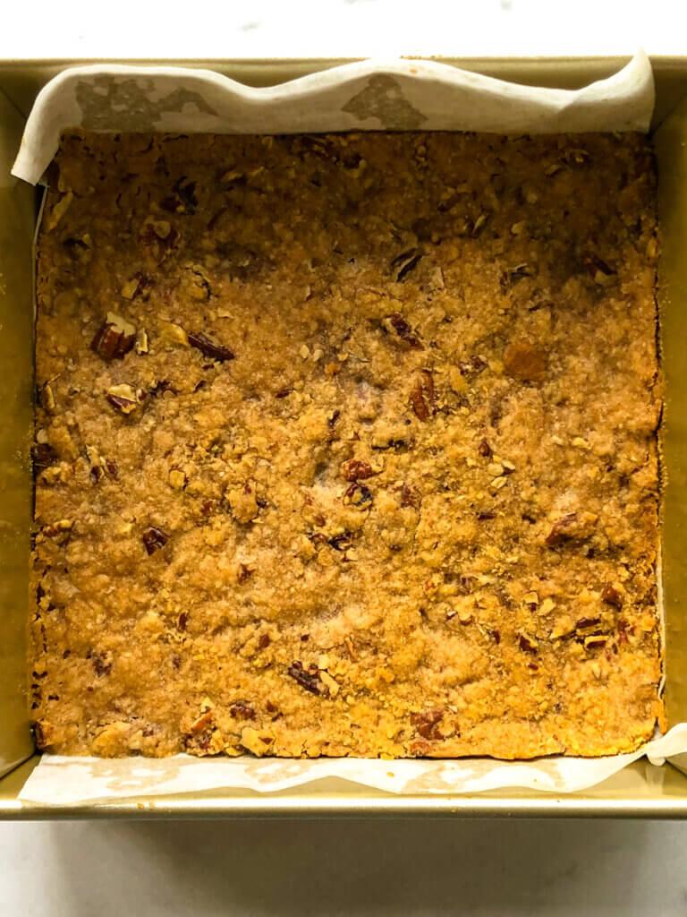 Overhead shot of golden gingerbread crust, baked