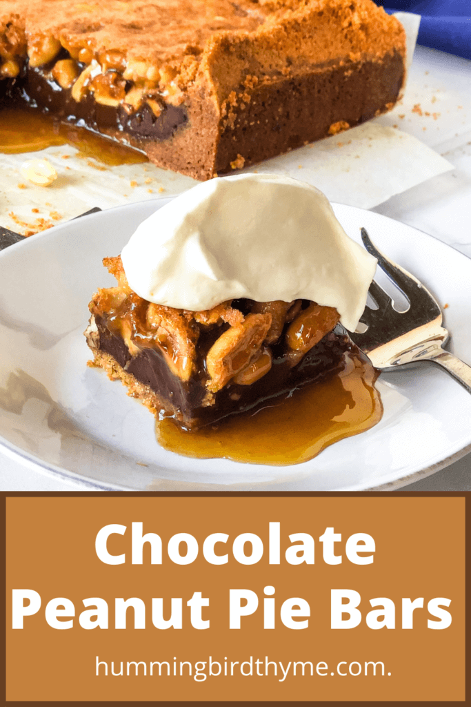 chocolate Peanut pie Bars recipe Pinterest Image