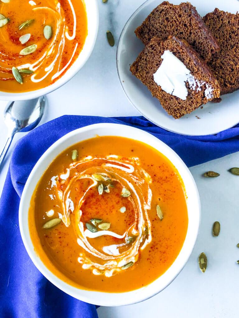 Featured Image of Smoky Sweet Potato Butternut Squash soup