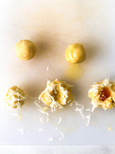 Process shot Shows the steps in assembling Thumbprint cookies