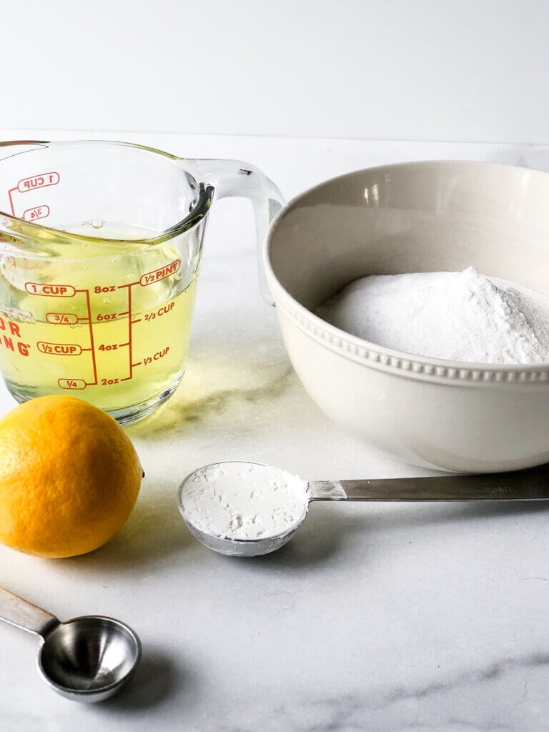 2/3 cup egg whites, 1 cup sugar, lemon for juice and 1 Tbsp Cornstarch
