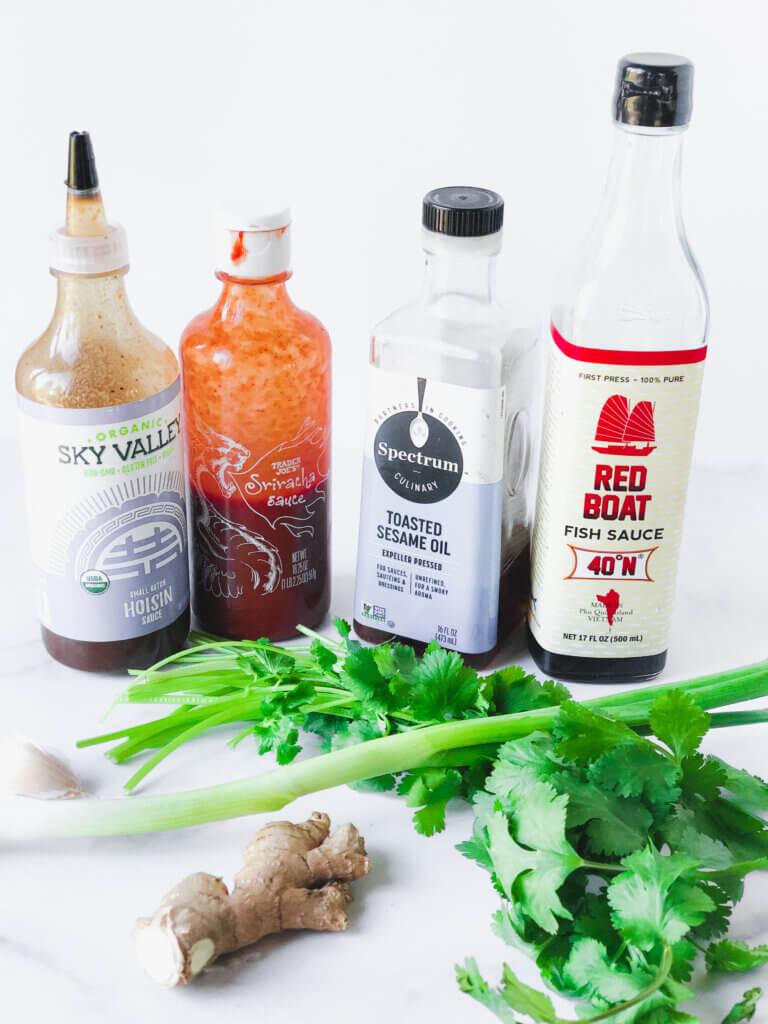 Patty ingredients: hoisin, sriracha, sesame oil, fish sauce, cilantro, scallion, ginger, garlic