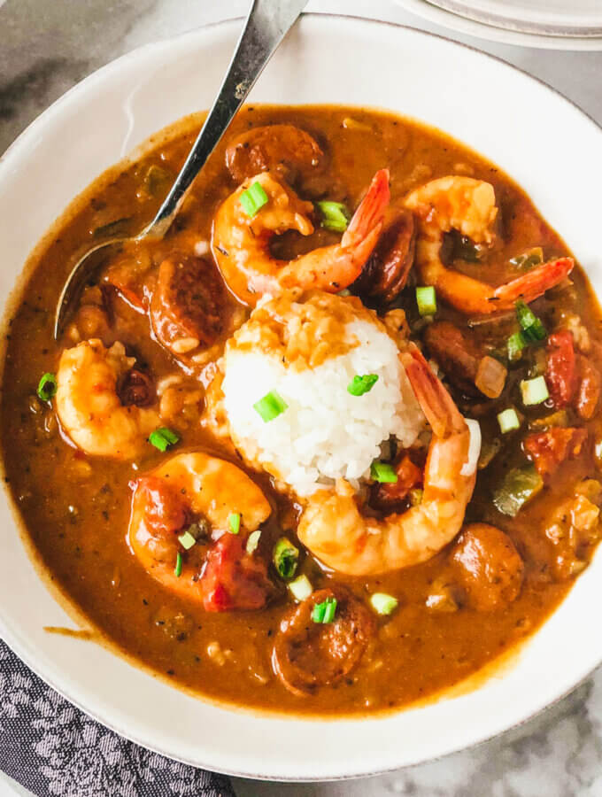 Big bowl of healthier Shrimp and Andouille Gumbo - made with Kevin Belton's dry roux