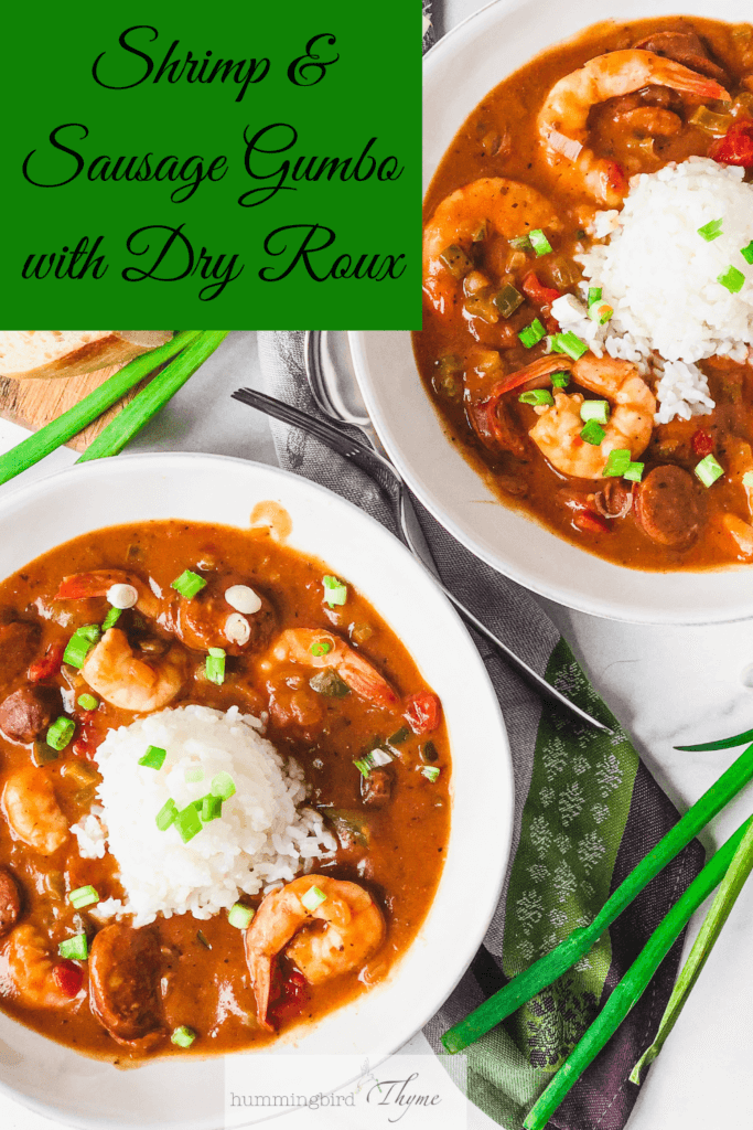two bowls of Shrimp and Sausage Gumbo made with dry roux - healthier version uses way less fat!
