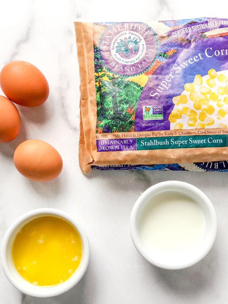 3 eggs, corn, melted butter, milk