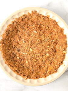 Press the crust mix into bottom and up sides of pie plate (or bottom of Springform pan)